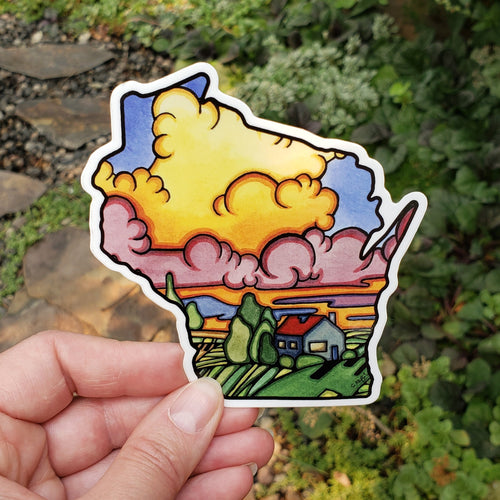 Wisconsin Sticker - Sarah Angst Art Greeting Cards, Stickers, and More