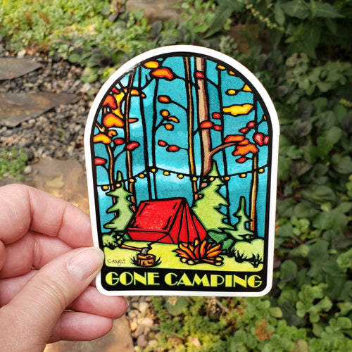 Gone Camping Sticker - Sarah Angst Art Greeting Cards, Stickers, and More