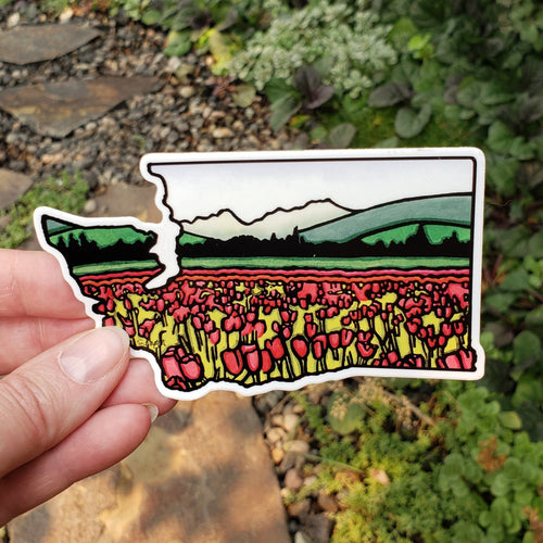 Washington State Tulip Sticker - Sarah Angst Art Greeting Cards, Stickers, and More