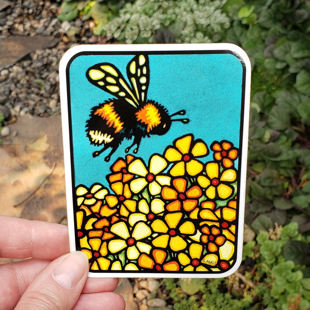 Bumble Bee Sticker - Sarah Angst Art Greeting Cards, Stickers, and More