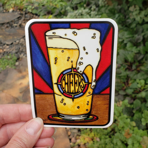 Cheers Beer Sticker - Sarah Angst Art Greeting Cards, Stickers, and More