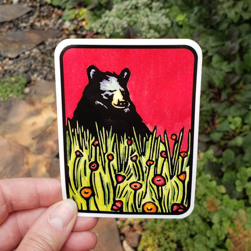 Naptime Bear Sticker - Sarah Angst Art Greeting Cards, Stickers, and More