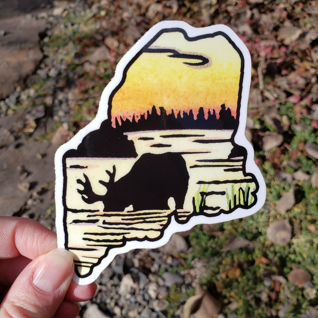 Maine Moose Sticker - Sarah Angst Art Greeting Cards, Stickers, and More
