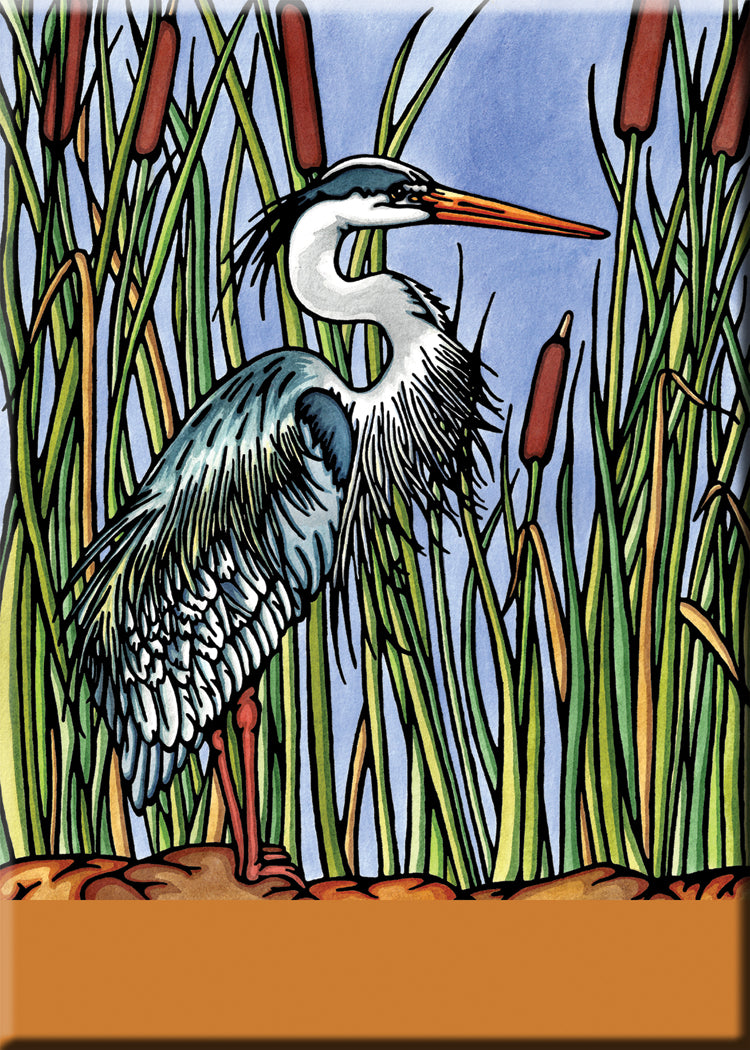 Name Dropped Magnet - Blue Heron