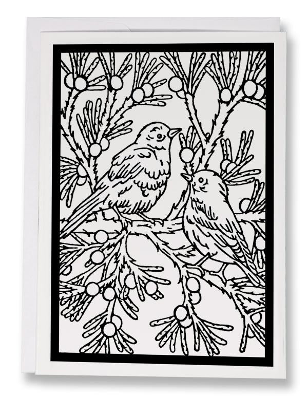 BW188 Bluebirds Coloring Card