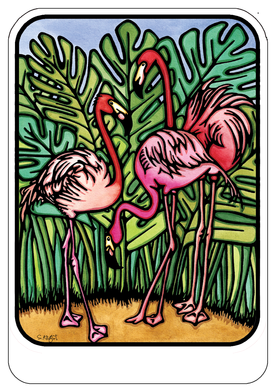 Name Dropped Sticker - FLAMINGOS