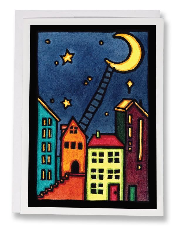 Climb to the Moon - 239 - Sarah Angst Art Greeting Cards, Giclee Prints, Jewelry, More
