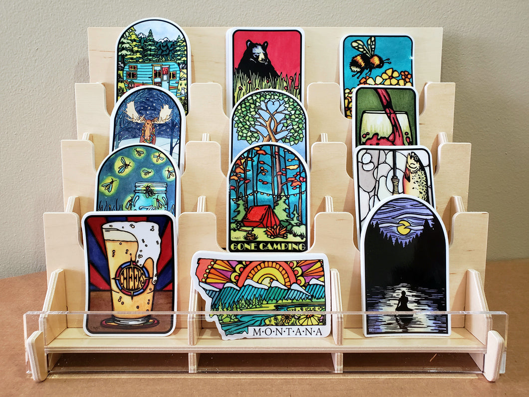 3 Tier (Pre Packed) Plywood/Acrylic Sticker Display