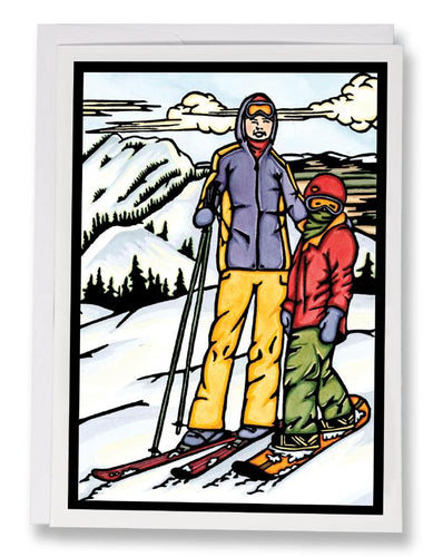 SA063: Skiing - Sarah Angst Art Greeting Cards, Giclee Prints, Jewelry, More