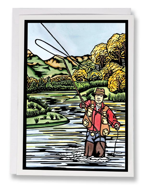 SA067: Fly Fishing - Sarah Angst Art Greeting Cards, Giclee Prints, Jewelry, More