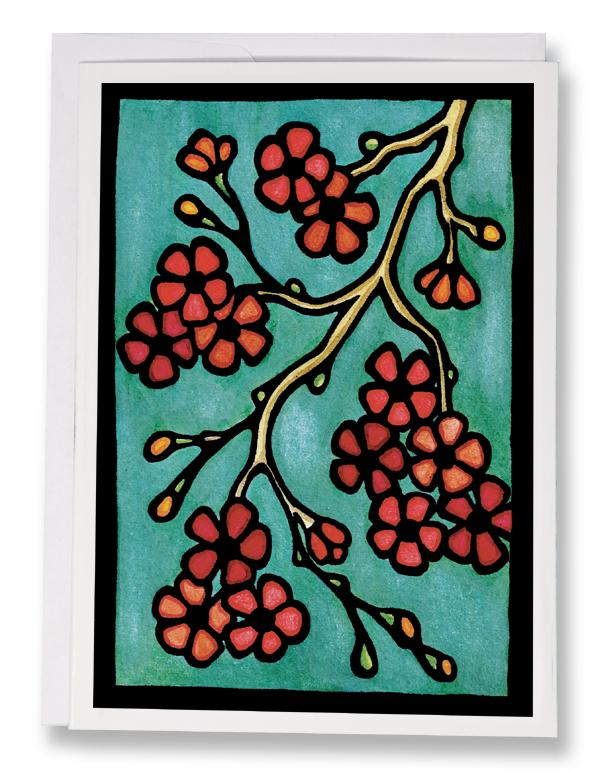 SA096: Cherry Blossoms - Sarah Angst Art Greeting Cards, Giclee Prints, Jewelry, More