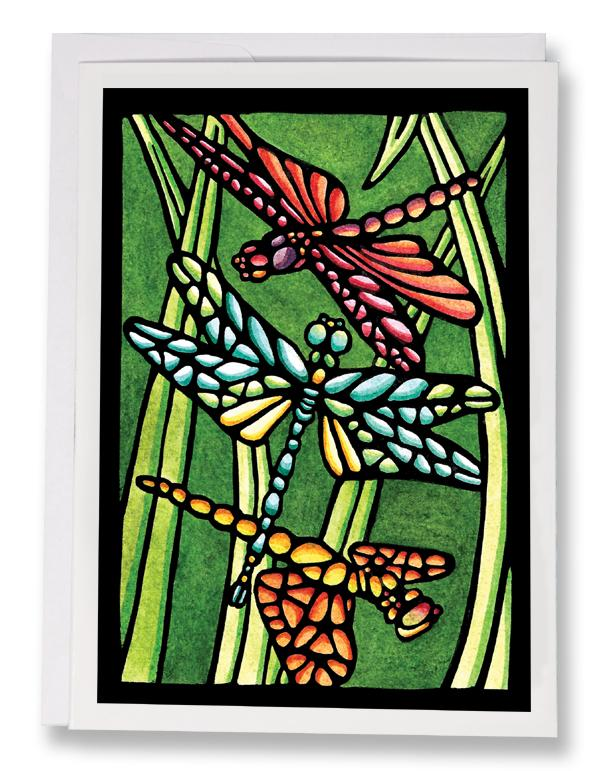 SA140: Three Dragonflies - Sarah Angst Art Greeting Cards, Giclee Prints, Jewelry, More