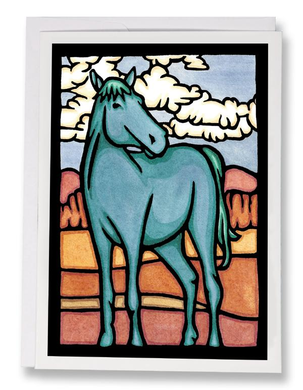 SA142: Blue Horse - Sarah Angst Art Greeting Cards, Giclee Prints, Jewelry, More