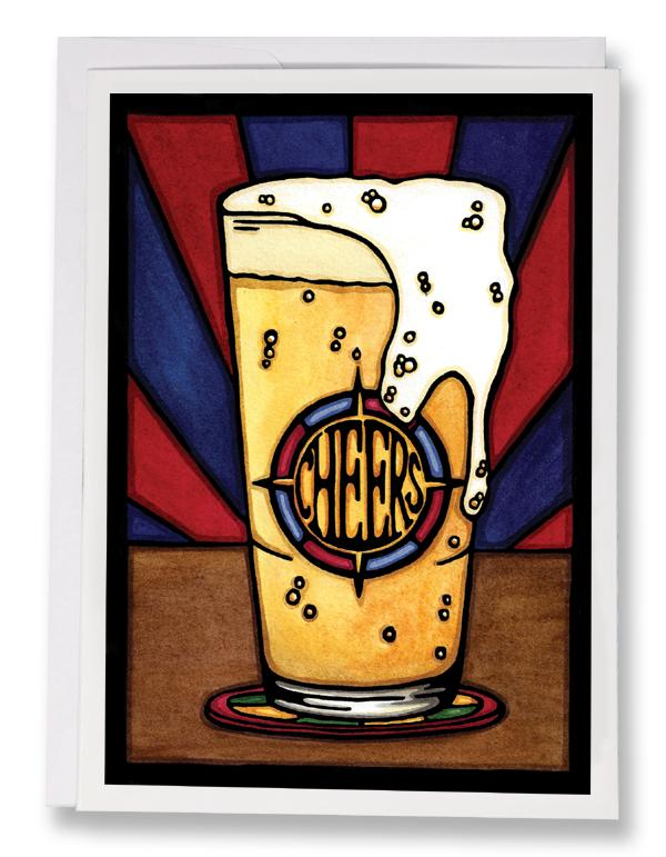 SA153: Cheers Beer - Sarah Angst Art Greeting Cards, Giclee Prints, Jewelry, More