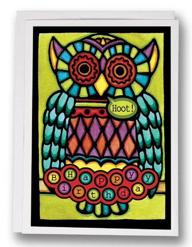 SA161: Birthday Owl - Sarah Angst Art Greeting Cards, Giclee Prints, Jewelry, More