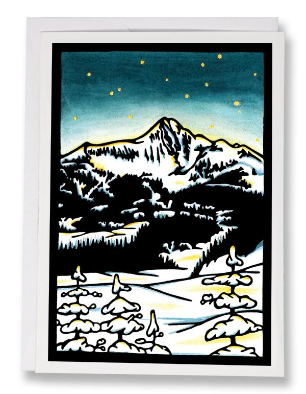 SA172: Mountain Night - Sarah Angst Art Greeting Cards, Giclee Prints, Jewelry, More