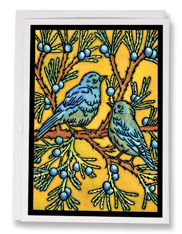 SA188: Bluebirds - Sarah Angst Art Greeting Cards, Giclee Prints, Jewelry, More