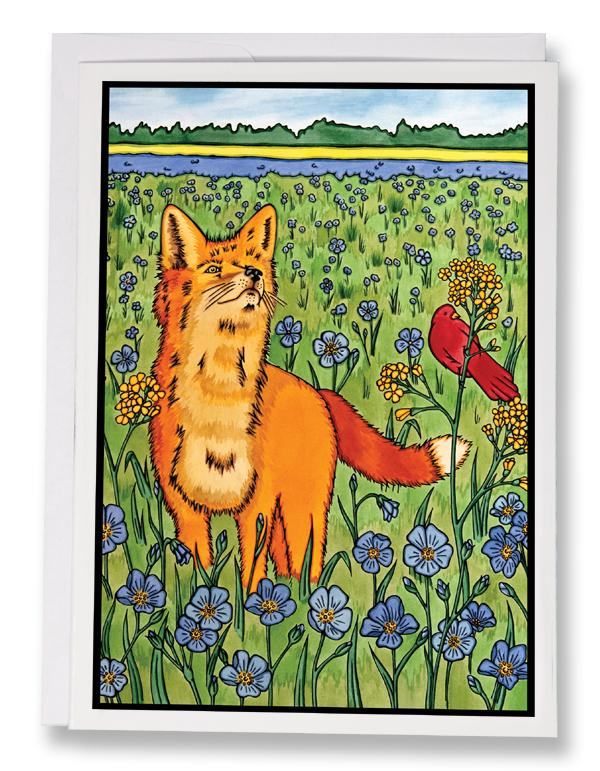 Fox & Friend - 199 - Sarah Angst Art Greeting Cards, Giclee Prints, Jewelry, More
