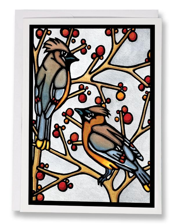 Cedar Waxwings - 245 - Sarah Angst Art Greeting Cards, Giclee Prints, Jewelry, More
