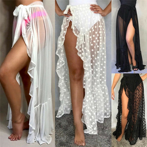 Sexy Women Mesh Sheer Beach Bikini Cover Ups Vacation Sunscreen Wrap Skirt 2020 New RufflesDot  High Waist Split Bikini Cover Up
