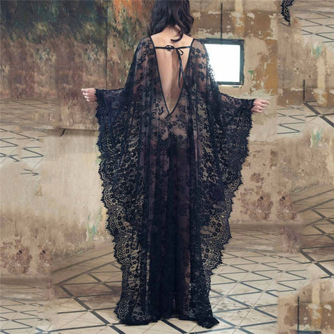 2019 New Women Lace Chiffon Kimono Beach Bikini Cover Up Wrap Beachwear Mesh Long dress