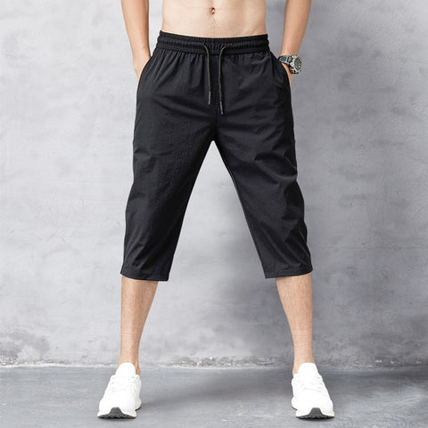 Men's Shorts Summer Breeches 2020 Thin Nylon 3/4 Length Trousers Male Bermuda Board Quick Drying Beach Black Men's Long Shorts