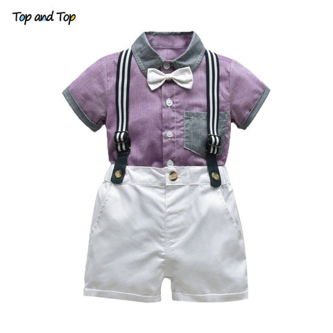 Top and Top Baby Boy Clothing Sets Infants Newborn Boy Clothes Shorts Sleeve Tops+Overalls 2PCS Outfits Summer Bebes Clothing