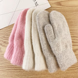 Double-layer rabbit hair gloves female winter Korean version of solid color all fingers  winter women gloves  girls mittens