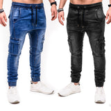 2020 Autumn Winter New Men's Stretch-fit Jeans Business Casual Classic Style Fashion Denim Trousers Male Black Blue  Pants