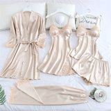 JULY'S SONG 5 Piece Pajamas Set Sexy Lace Stain Women Pajamas Faux Silk Dressing Gown Lace Summer Robe Sleepwear With Chest Pads