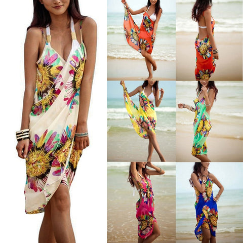 Big Sale Bohemian Women Summer Beach Dress Bikini Cover-ups Swim Wear Cover Up Cotton Tunic Sexy Deep V-Neck Robe Caftan Summer