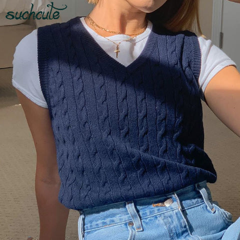 SUCHCUTE e girl Sweater Vest women jumper V Neck pullover Knitted Vests Women y2k Preppy Style Crop Top Autumn 2020 solid outfit