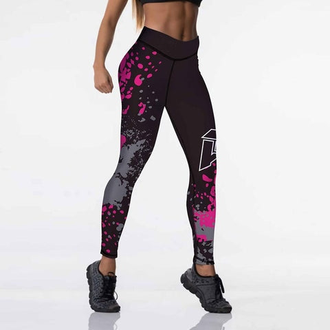 Qickitout 12%spandex Sexy High Waist Elasticity Women Digital Printed Leggings Push Up Strength Pants