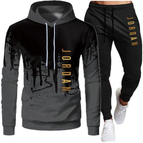2 Pieces Sets Tracksuit Men Hooded