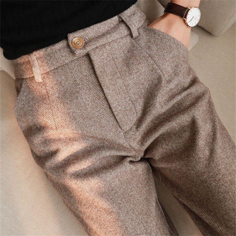 Herringbone Woolen Pants Women's Harem Pencil Pants 2020 Autumn Winter High Waisted Casual Suit Pants Office Lady Women Trousers