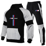 2020 new2 Pieces Sets Tracksuit BMW printing Men Hooded Sweatshirt+pants Pullover Hoodie Sportwear Suit   Casual Men Clothes
