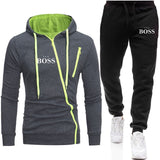 2020 New Zipper Tracksuit Men Set Sporting 2 Pieces Sweatsuit Men Clothes Printed Hooded Hoodies Jacket Pants Track Suits Male