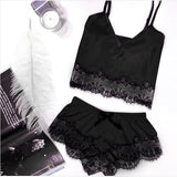 S-3XL Size Women's Sleepwear Sexy lace Pajama Set  V-Neck Pyjamas Sleeveless Hollow Out Cami Top 2020 Short pijama mujer