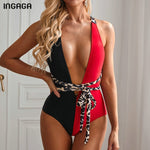 INGAGA 2020 Plunging Swimsuit One Piece High Cut Swimwear Women Cross Bandage Beachwear Summer Backless Bathing Suit Women