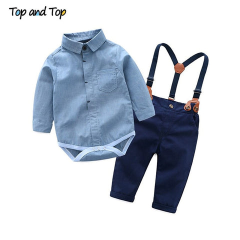 Top and Top Toddler Baby Boys Gentleman Clothes Sets Long Sleeve Romper+Suspenders Pants 2Pcs Wedding Party Casual Outfits