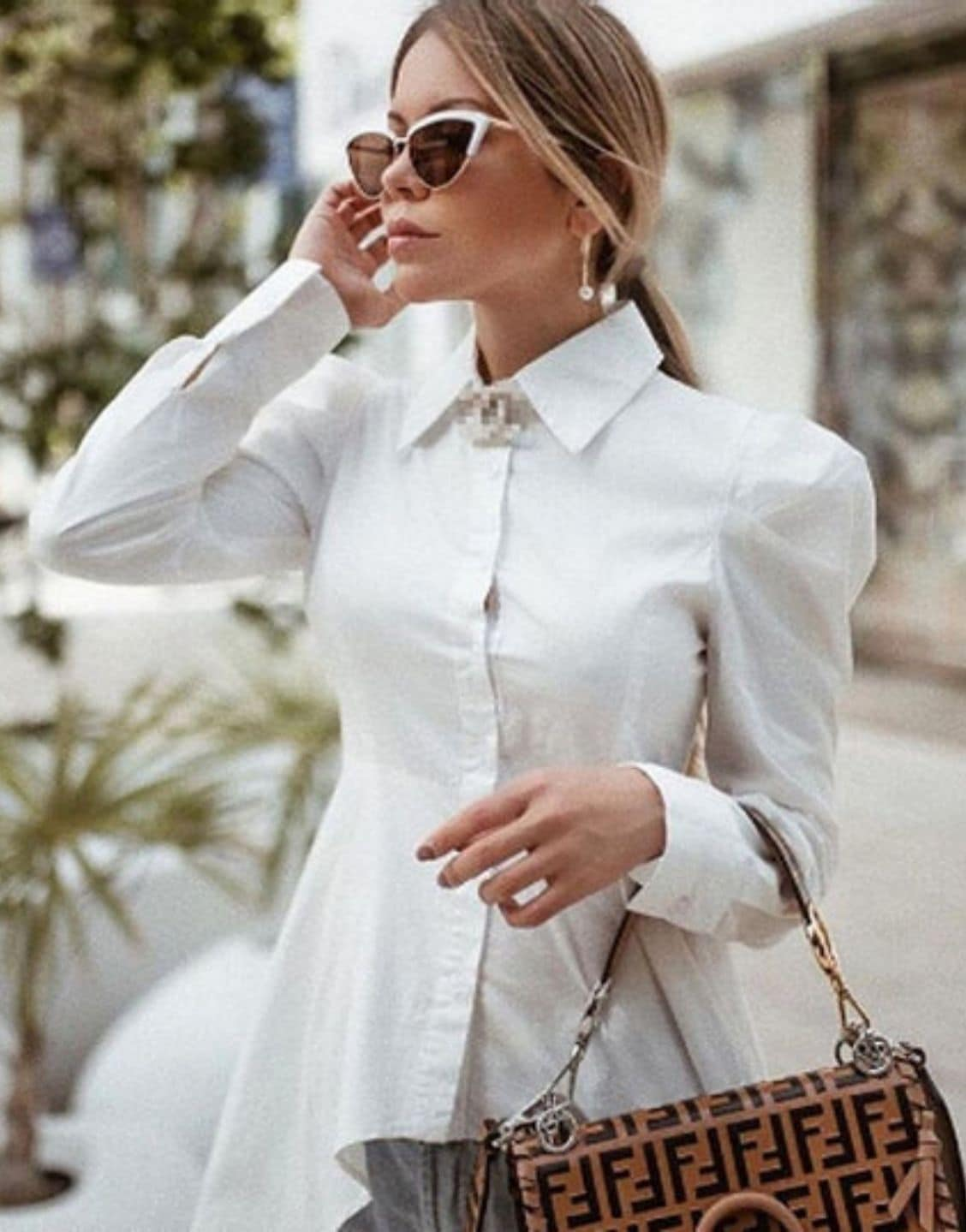 Asymmetrical Long Puff Sleeve Shirt