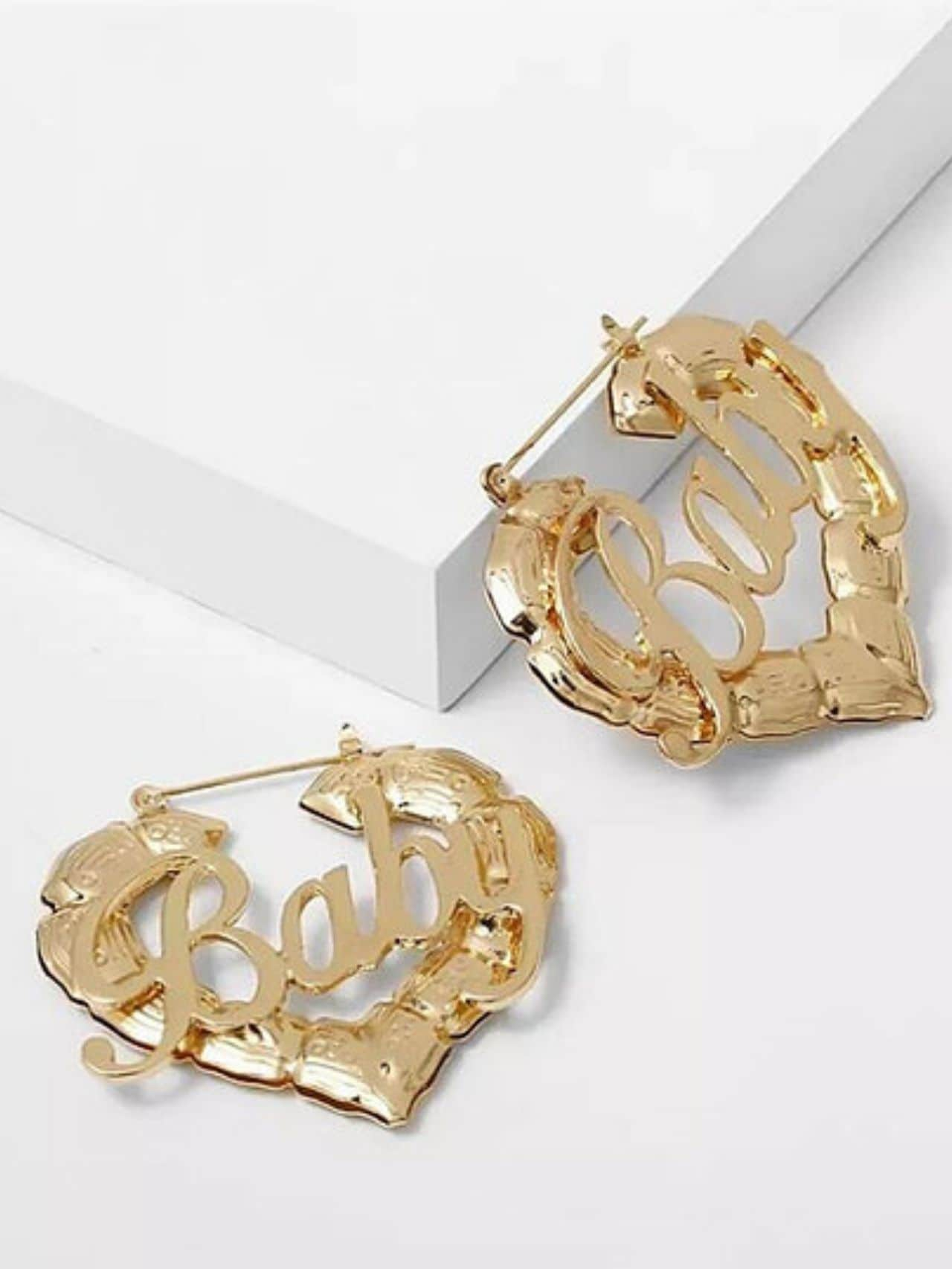 Baby Heart Hoop Gold Geometric Earrings