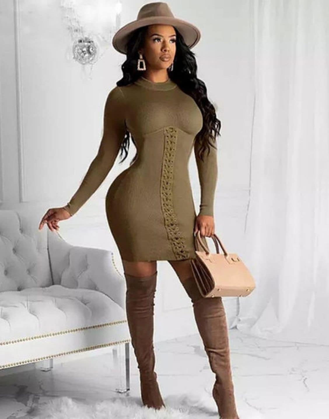 Bandage Long Sleeve Sexy Mini Dress