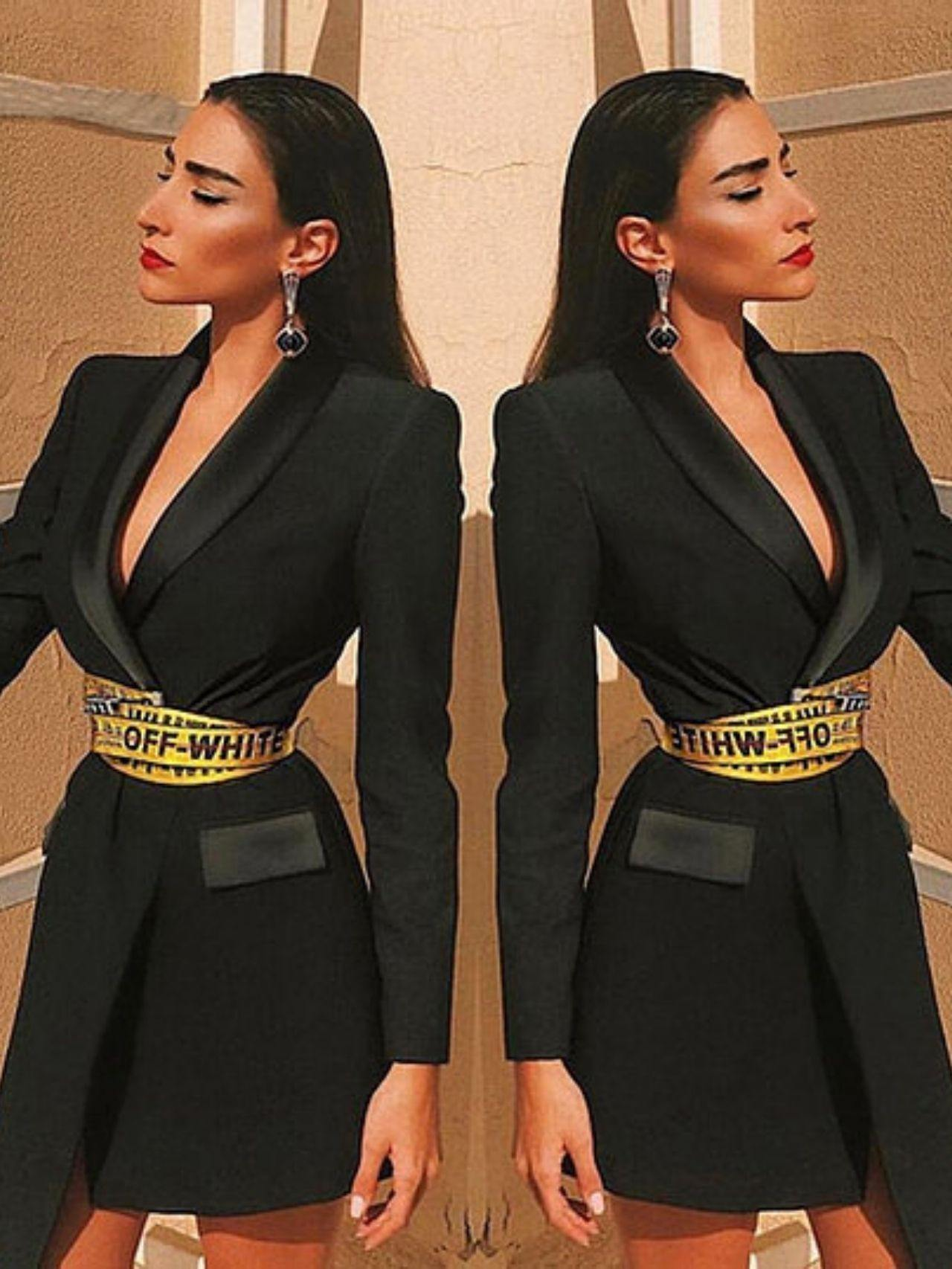Belt Pocket Mini Fashion Blazer Dress