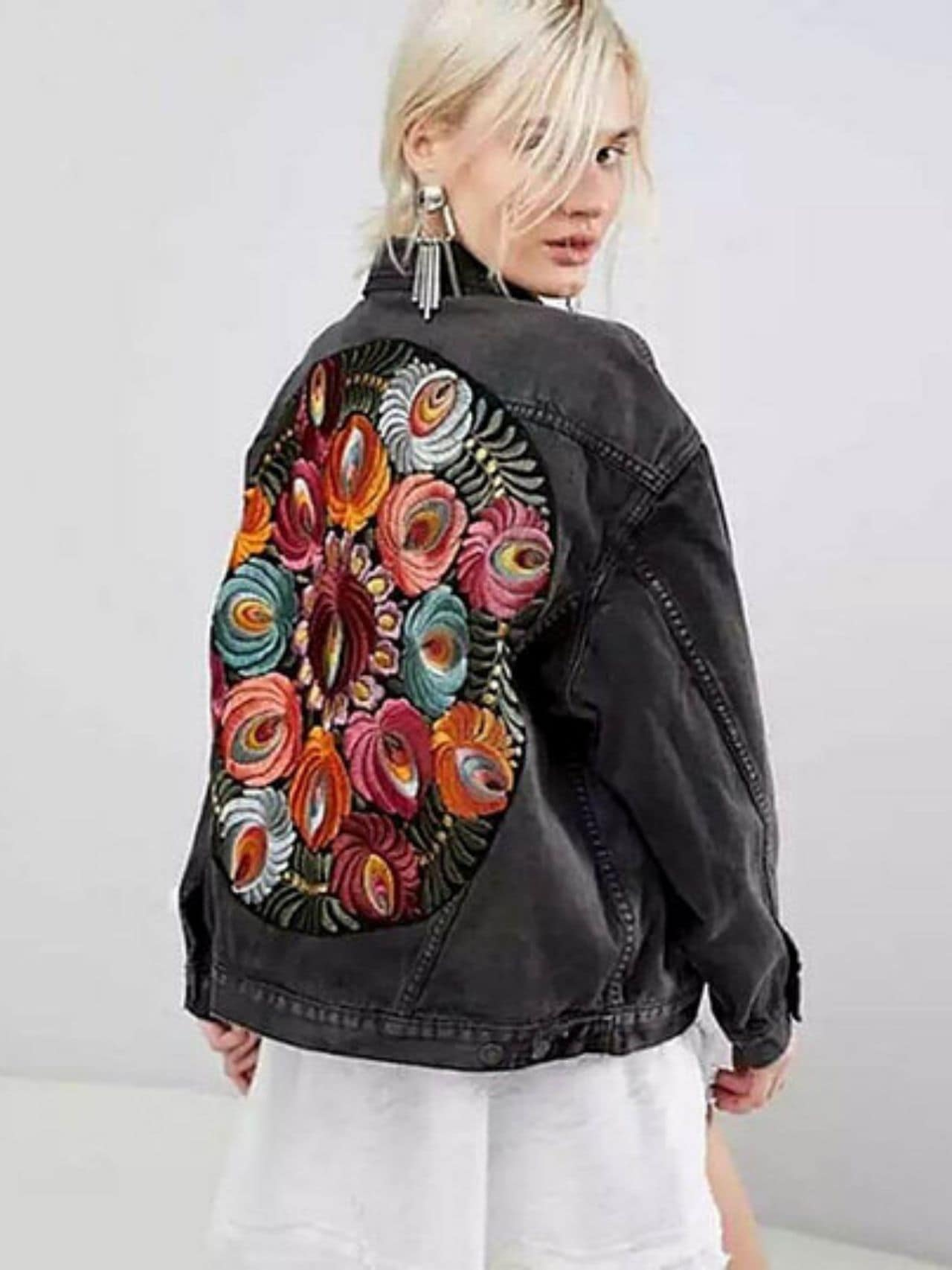 Colorful Floral Embroidered Denim Jacket