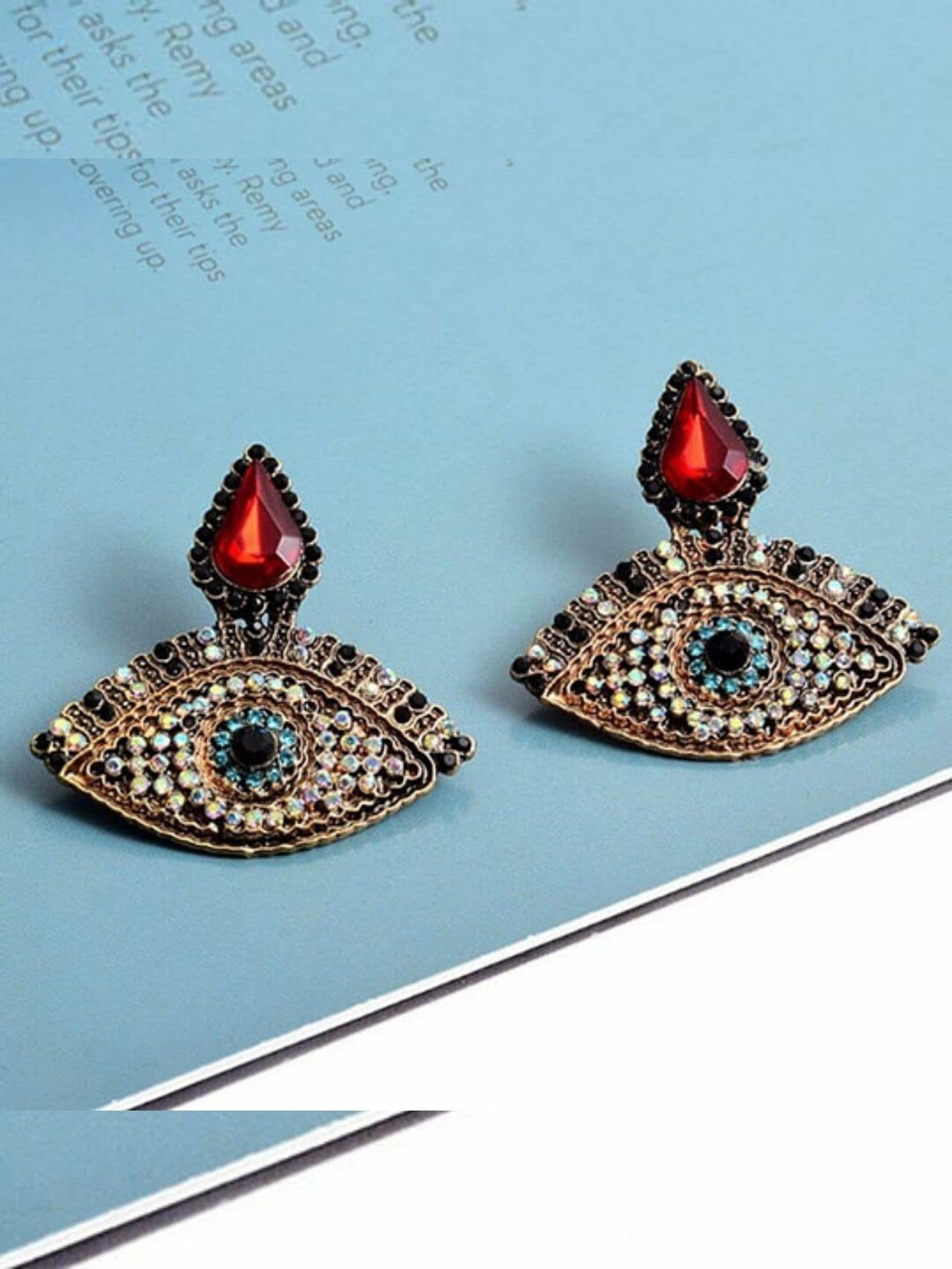 Colorful Rhinestone Metal Eye Shaped Earrings