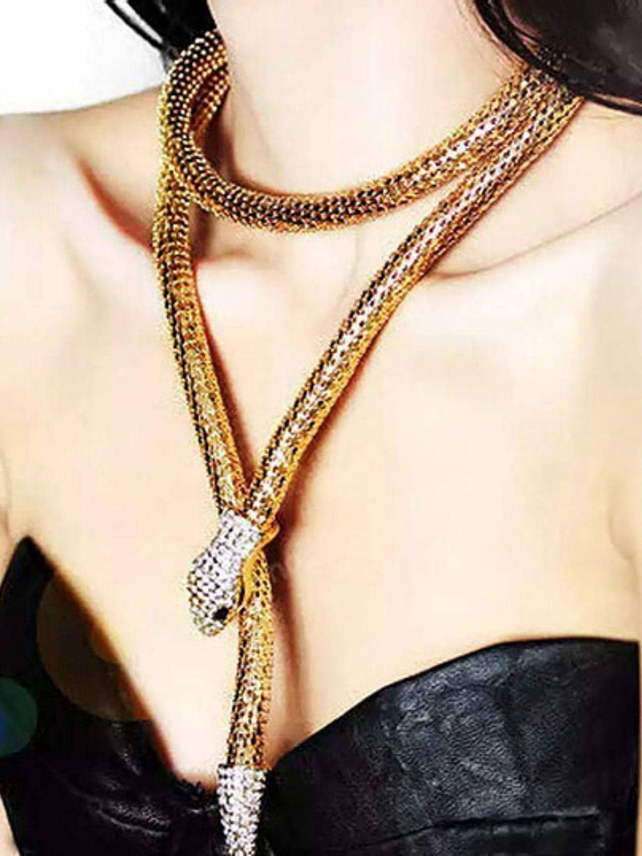 Crystal Snake Long Pendant Necklace
