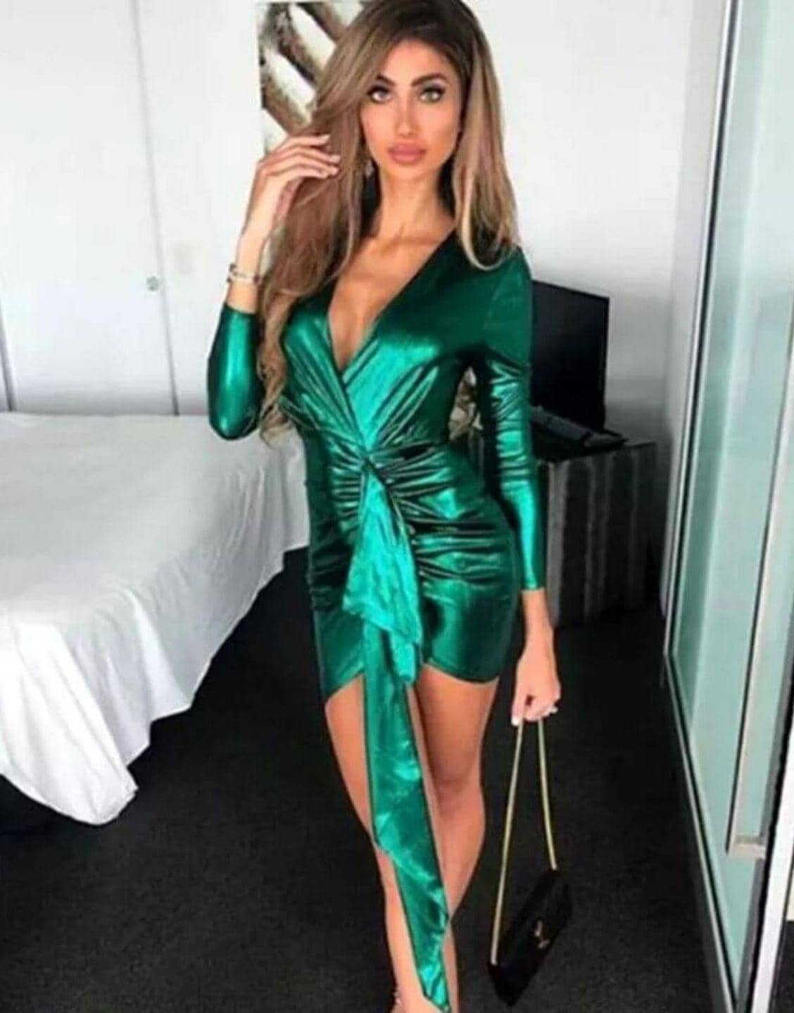 Deep V-Neck Elegant Green Mini Dress