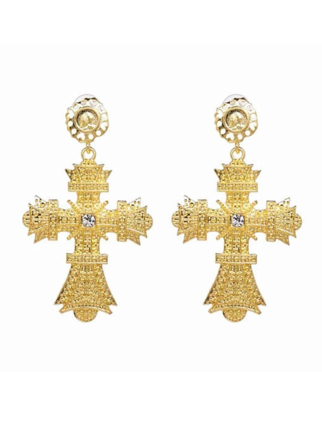 Exaggerated Modern Cross Dangle Earrings
