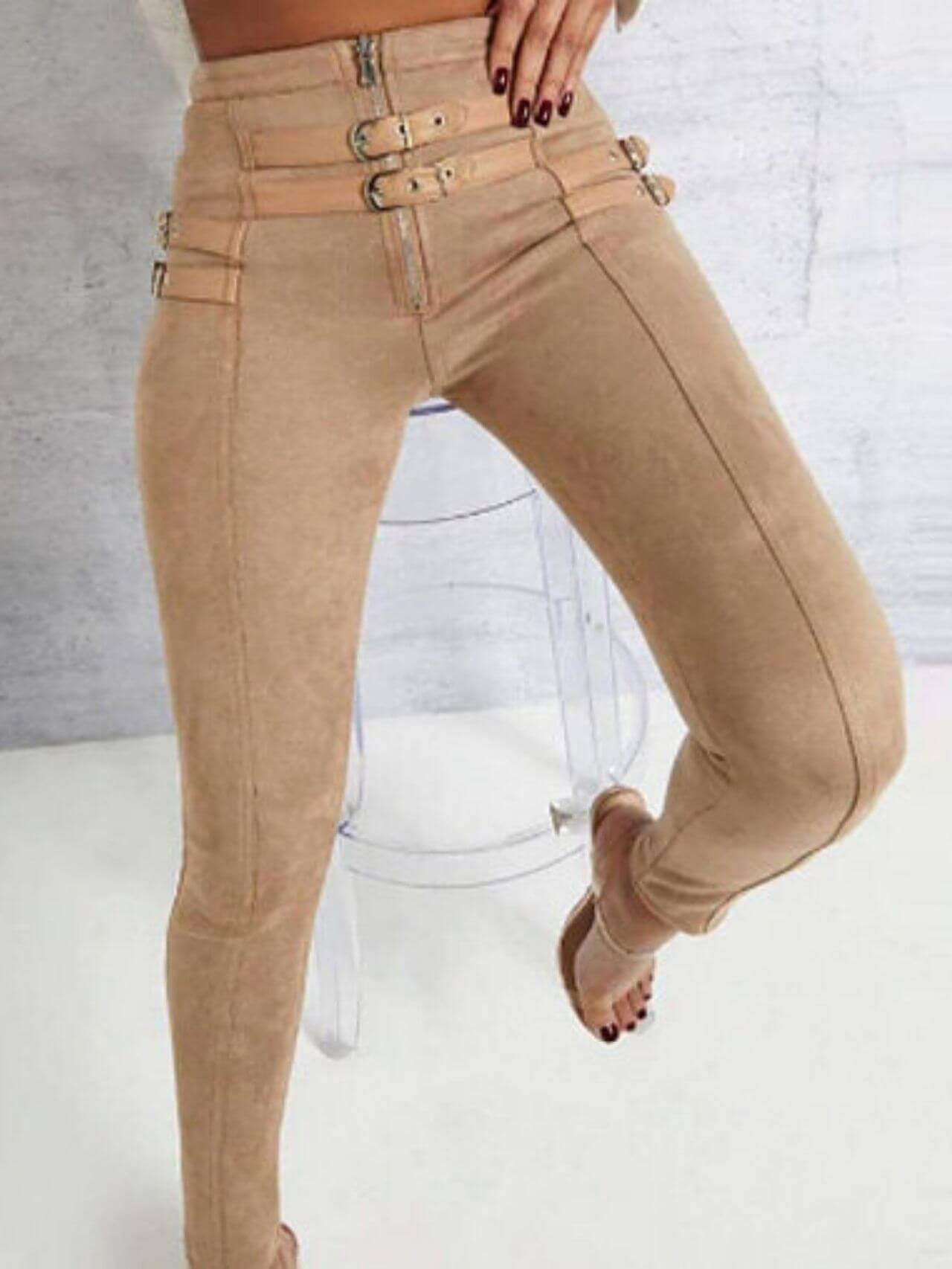 Fashion Belt Buckle Pencil Suede Pant